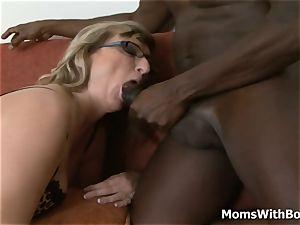 ash-blonde grannie Aja pounds phat dark-hued man meat