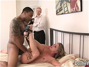 wife Amanda blow stretches for dark-hued meatpipe