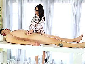 customer gets masturbated by Dava