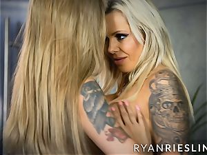 Ryan Riesling and Nina Elle tribbing until climaxing