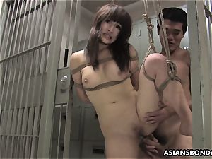 chinese sweetie gets pulverized with force behind the slats