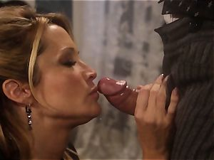 Jessica Drake pulverizes the sheriff across the dining table