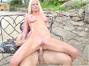 ash-blonde Riley Jenners oily outdoor poking