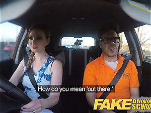 faux Driving school Nerdy redhead teenage schoolgirl