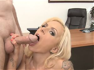 cool secretary Nina Elle inhales manstick in the office
