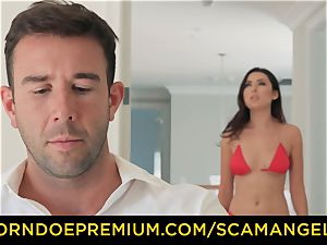 SCAM ANGELS - sizzling Melissa Moore poked in ultra-kinky fourway