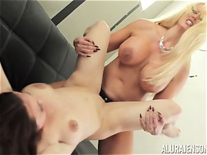 Alura Jenson cooch filled with strapon heavy muscled lady Brandi May