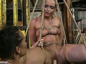 Kathia Nobili and Mandy Bright fake penis fucking rock-hard