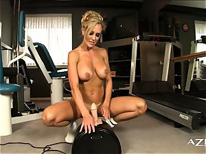 beautiful towheaded milf rides sybian and cums firm