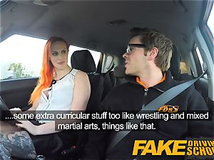faux Driving school tattooed redhead hankers a phat bone
