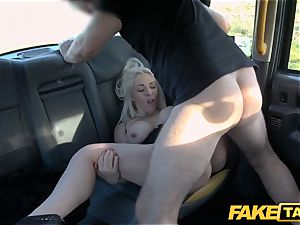 fake cab blonde cougar Victoria Summers plumbed in a cab