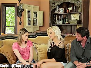 sizzling couple seduces a promiscuous teenage to do 3some