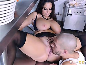 Kitchen inspector Ava Addams takes a chefs jizz-shotgun deep
