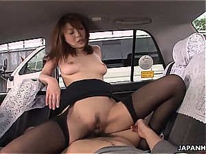 She is romped doggystyle in the van
