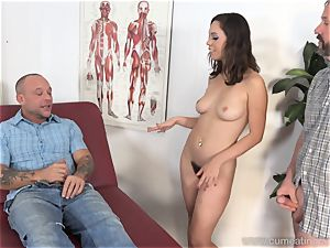 Jade Nile Has Her hubby inhale hard-on and watch Her