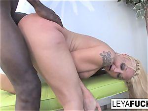 light-haired ultra-cutie Leya takes on a humungous dark-hued jizz-shotgun