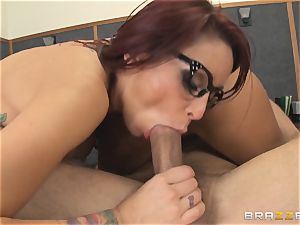 Mick Blue daydreaming in class about his professor Madison Ivy
