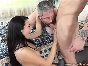 Megan Sages spouse jerks lil' rod As She Gets nailed