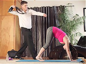 youthfull yoga sweetie tastes some jism