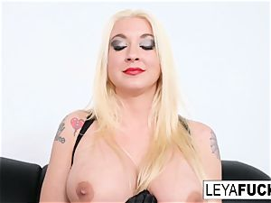 scorching large tittie platinum-blonde Leya gets her ass torn up
