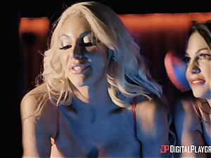 Monster wood for 2 lusty craving babes Abigail Mac and Nicolette Shea