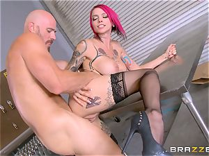super hot manager Anna Bell Peaks rides her workers trouser snake