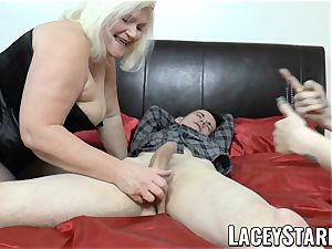 LACEYSTARR - GILF shares humungous sausage spunk with goth honey