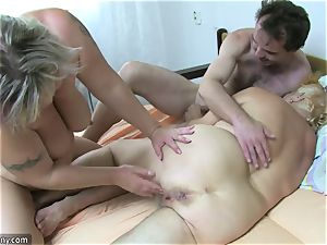 OldNanny grandmother and mature drained furry snatch