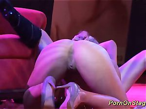 wild girly-girl hook-up demonstrate on public stage