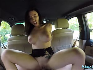 dark haired honey gets plumbed in the car