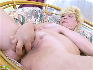 OldNannY blond Mature Solo Titplay and finger-tickling