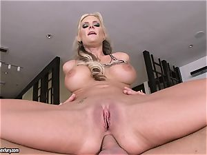 assfuck lover Phoenix Marie juggles her ass on a ginormous trouser snake