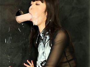 chinese Marica Hase getting bukkake at the gloryhole