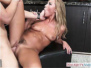 squashing Carter's pierced boobies